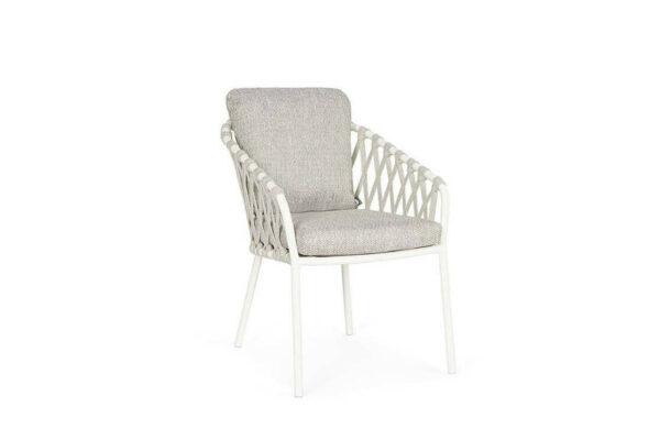 Nappa eleganckie krzesło ogrodowe białe aluminium jasnoszare poduszki SUNS