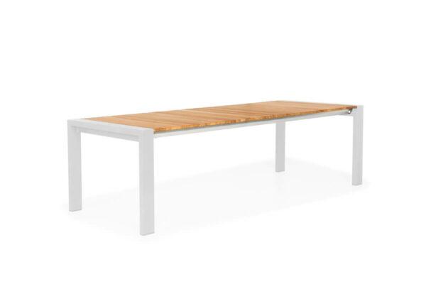 Rialto stół ogrodowy rozkładany aluminium drewno teak kolor biały rozsuwany Suns