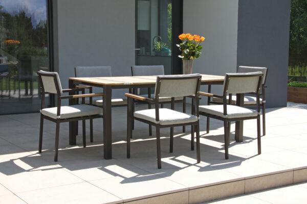 Soller luksusowy zestaw stołowy na taras 6 osobowy stół ogrodowy 6 krzeseł ogrodowych Twojasiesta