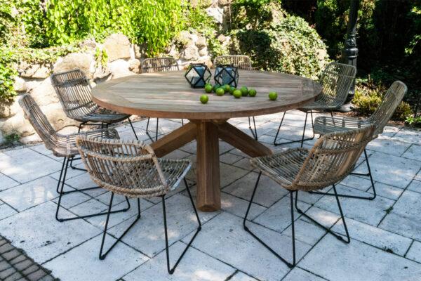 Bordeaux Dinan zestaw mebli ogrodowych 8 osób stół teakowy 170 cm krzesła rattanowe naturalne Vimine Twoja Siesta luksusowe meble ogrodowe