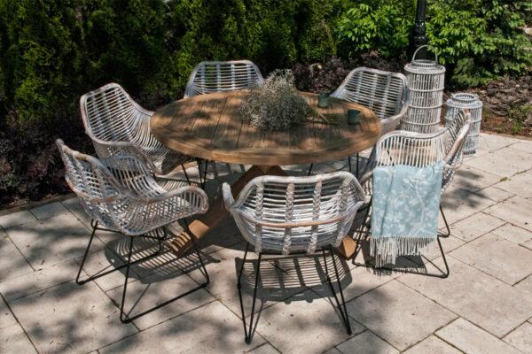Bordeaux Laval zestaw ogrodowy z okrągłym stołem 135 cm 6 białych krzeseł rattanowych Vimine Twoja Siesta luksusowe meble ogrodowe
