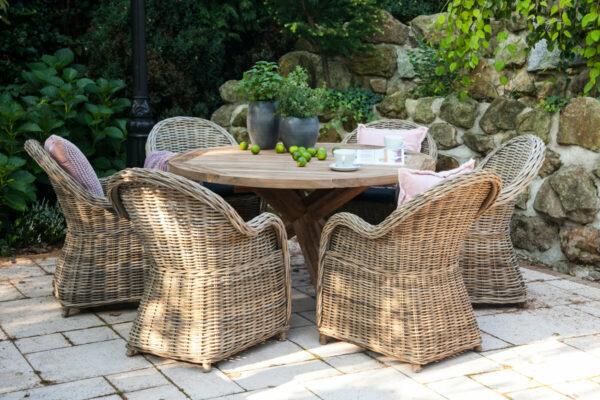 Bordeaux Versailles komplet mebli ogrodowych 6-osobowy stół teakowy średnica 135 cm 6 foteli rattanowych Vimine meble ogrodowe rattanowe