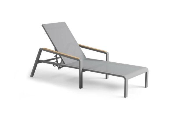 Cordoba nowoczesny leżak ogrodowy aluminium szary siatka drewno teak Zumm Twojasiesta luksusowe meble ogrodowe aluminium
