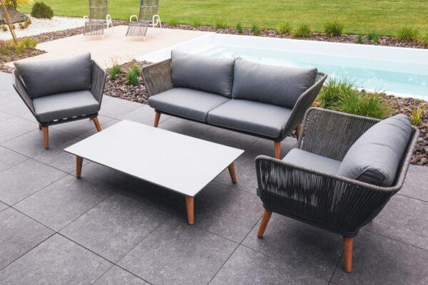 Corfu 4 meble ogrodowe komplet wypoczynkowy fotele ogrodowe prostokątny stolik kawowy sofa ogrodowa SUNS luksusowe meble ogrodowe Zumm