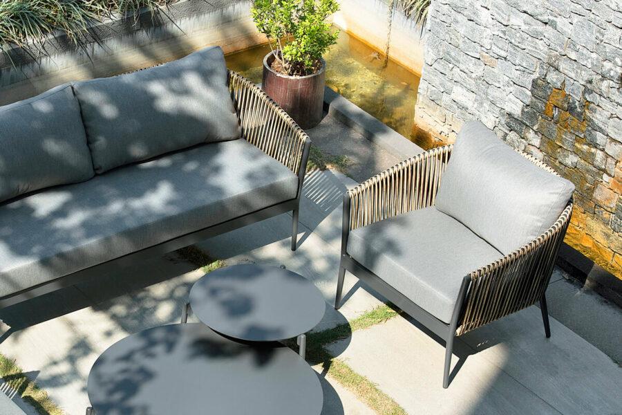 Groppo ogrodowy komplet wypoczynkowy z sofą 3 osobową technorattan aluminium Twoja Siesta