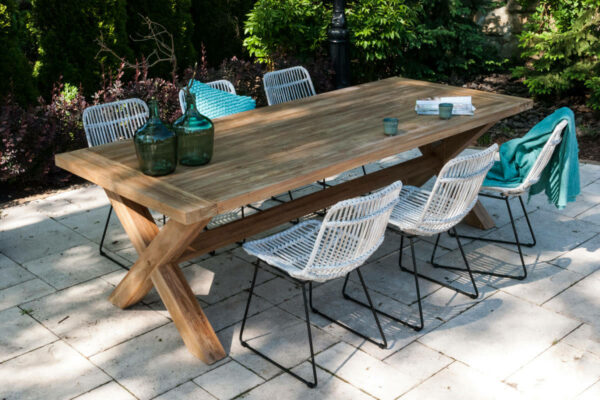 Lyon Dinan zestaw ogrodowy stołowy 6 osób stół ogrodowy 240 cm Lyon 6 krzesł Dinan biały rattan Vimine meble ogrodowe rattanowe