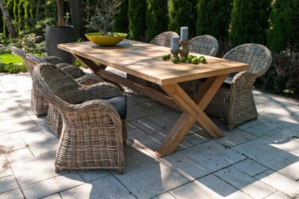Lyon Versailles ogrodowy zestaw stołowy 6 osób stół ogrodowy Lyon fotele ogrodowe naturalny rattan Vimine meble ogrodowe rattanowe