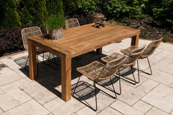 Nimes Dinan zestaw ogrodowy stołowy 6-8 osób stół teakowy ogrodowy Nimes 180 cm 6 krzeseł Dinan rattan naturalny Vimine luksusowe meble ogrodowe