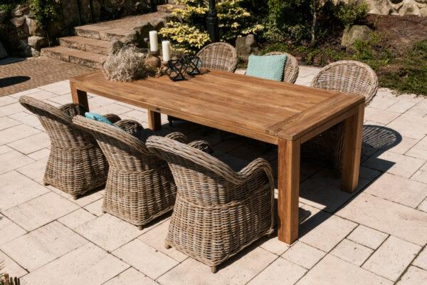 Nimes Versailles ogrodowy zestaw stołowy stół ogrodowy 240 cm 6 foteli rattanowych kolor naturalny Versaillles Vimine luksusowe meble ogrodowe