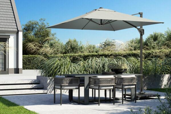 Parasol na taras Voyager T1 3 x 2 m z boczną nogą prostokątny wysokiej jakości Platinum Platinum luksusowe parasole ogrodowe