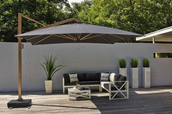Parasol ogrodowy Icon 3.5 x 3.5 m kwadratowy z boczną nogą luksusowe parasole ogrodowe Platinum