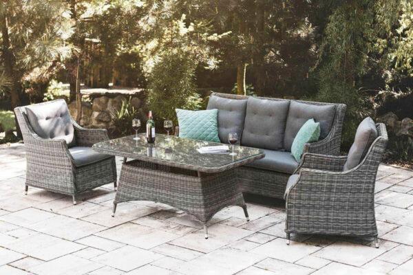 Siena 2 meble ogrodowe technorattanowe zestaw sofa ogrodowa fotele wysoki stolik ogrodowy szary technorattan Oltre Twoja Siesta luksusowe meble ogrodowe