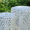 Silo wysoka lampa ogrodowa LED technorattanowa kolor biały lampy ogrodowe stojące ledowe Twoja Siesta designerskie lampy ogrodowe
