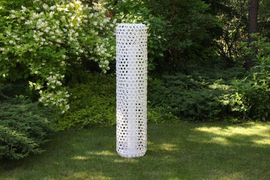 Silo wysoka lampa ogrodowa LED technorattanowa kolor biały rozmiar S lampy ogrodowe stojące ledowe 130 cm Twoja Siesta meble technorattan