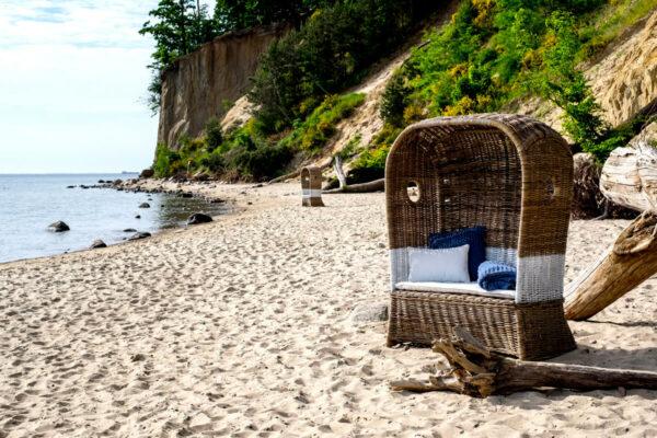St Tropez kosz plażowy rattanowy podwójny Vimine meble ogrodowe rattanowe
