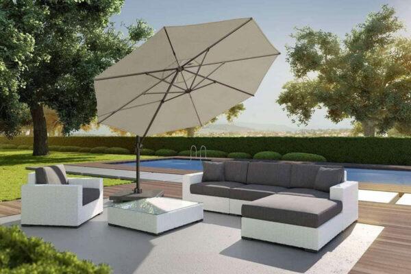 Voyager T1 parasol ogrodowy Ø 3 m z boczną nogą okrągły Platinum parasole ogrodowe