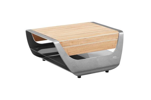 Onda Pininfarina boczny stolik ogrodowy aluminium szare drewno teakowe jachtowe Higold luksusowe meble ogrodowe