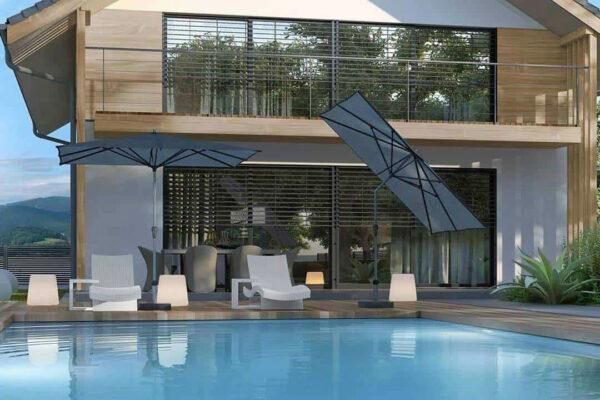 Parasol tarasowy Riva 2.5 x 2 m z centralną nogą parasole ogrodowe Platinum
